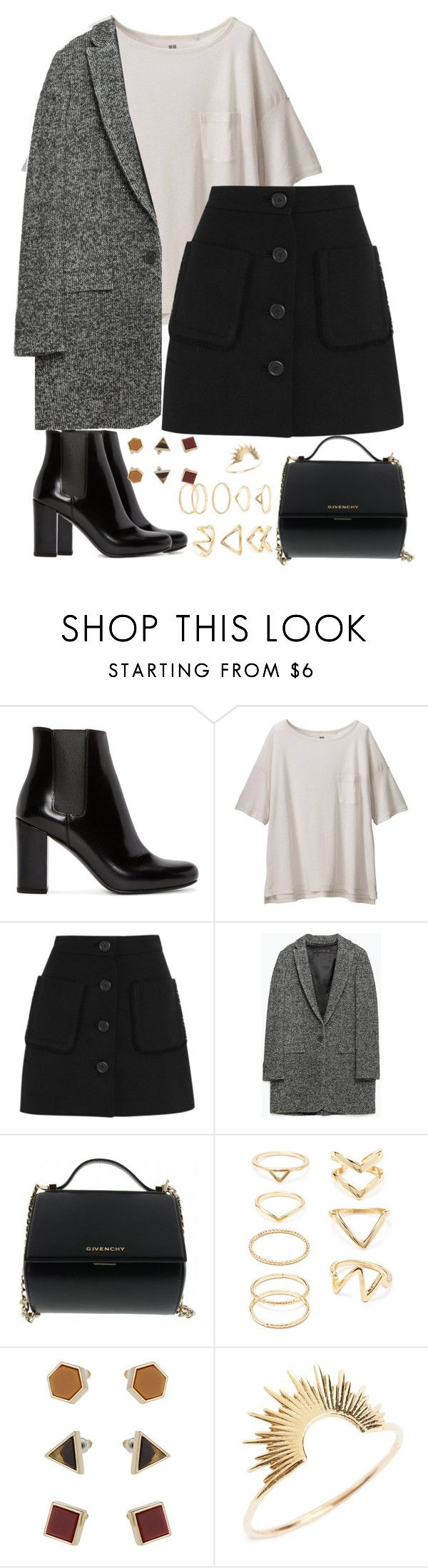"""Untitled #1755"" by itsmeischoice on Polyvore featuring Yves Saint Laurent, Uniqlo, Miu Miu, Zara, Givenchy, Forever 21, Topshop, Sarah & Sebastian, women's clothing and women's fashion"