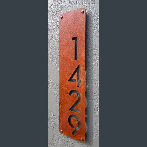 Custom Modern House Numbers Vertical Offset in Rusted Steel The Modern and Sleek house number sign made from 16ga rusted and sealed steel. For