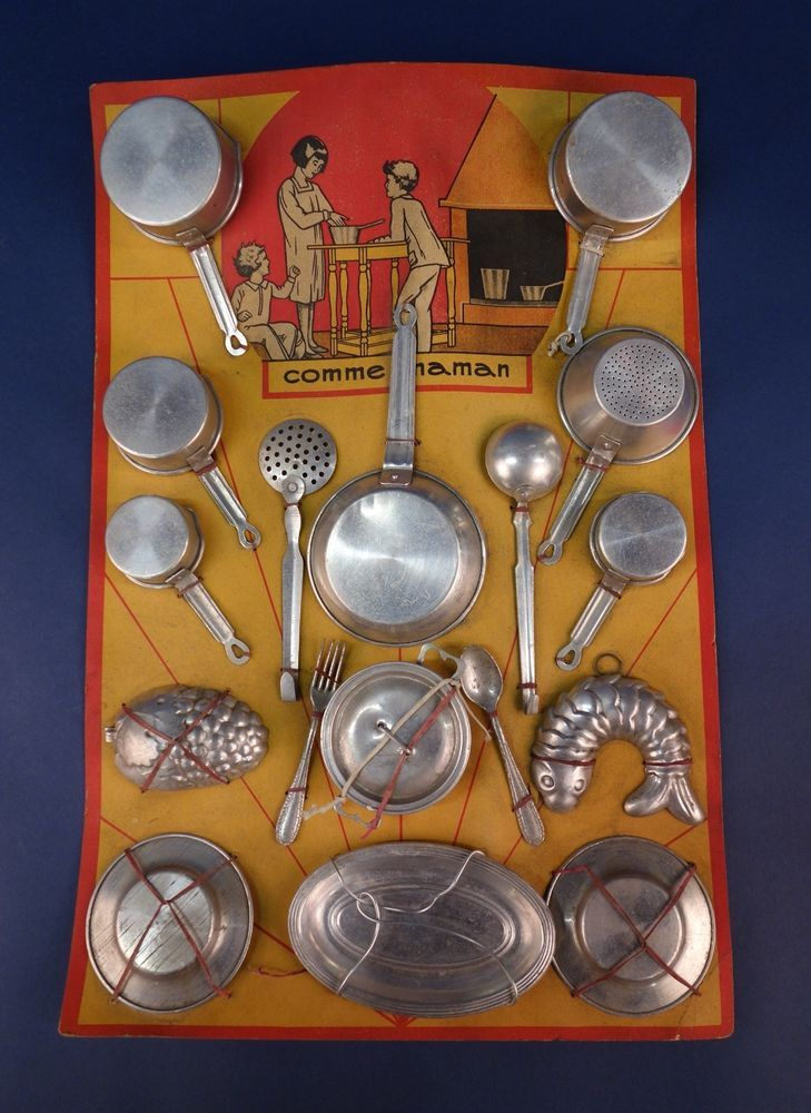Vintage French Comme Maman Toy Aluminium Children's Kitchen Set, Pots And Pan