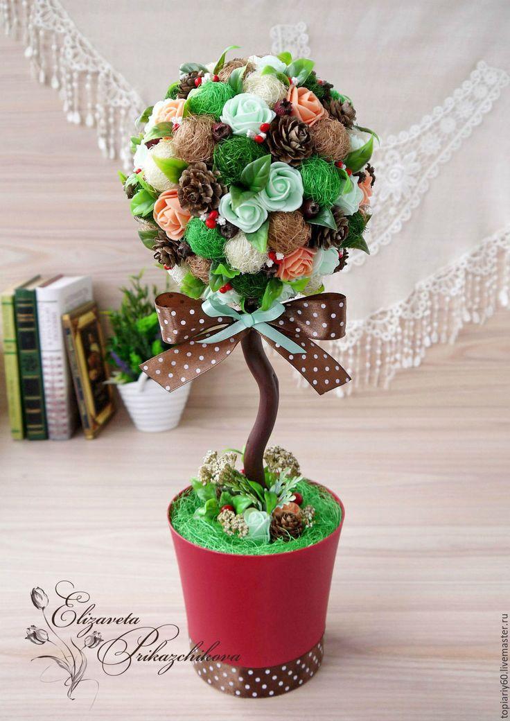 """Купить Топиарий, интерьерное дерево счастья """"Брауни"""". - комбинированный, топиарий, Дерево счастья, интерьерное дерево"""