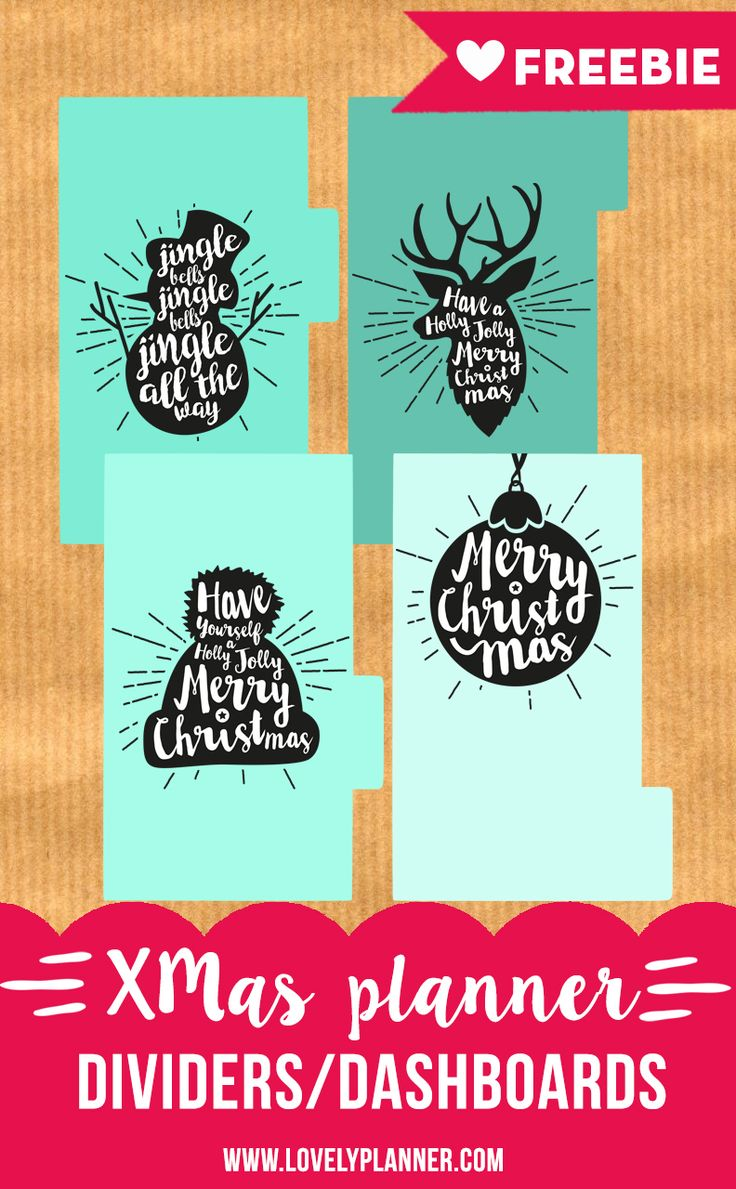 Day 2 of Advent Calendar: Download this Free christmas planner dividers/dashboards with lettering. PDF printable for Personal size planners. More planner printables on lovelyplanner.com