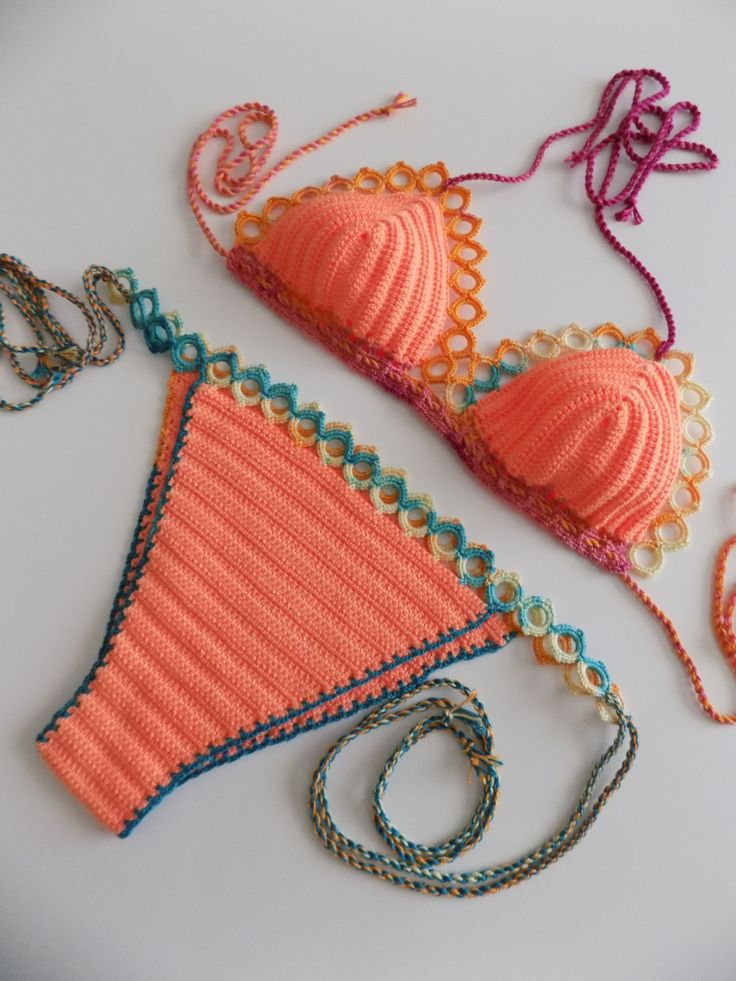FREE Shipping- multicolor Crochet Bikini, Women Swimwear, Beach Wear,light orange swimsuit,Crochet swimsuit,crochet bikini,crochet swim wear by pompomhats on Etsy