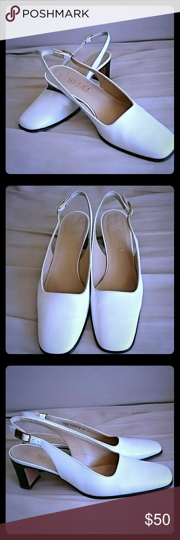 White Guuci slingback pump Authentic white Gucci slingback pump, lightly used. Heels are thicker, easier to walk in the city Gucci Shoes Heels