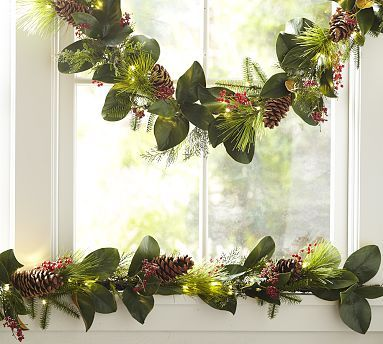 Lit Faux Magnolia & Red Berry Garland