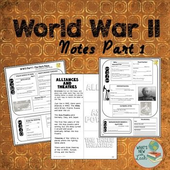 These are Part 1 of my WWII notes: The Dark Days. You get cloze notes, Alliances and Theatres Foldable Graphic Organizers, and a PowerPoint Presentation with film links.***This is a part of my time and money-saving WWII Interactive Notebook.***Check it Out HEREOr get it all together and save HUGE with my steeply discounted World History Interactive Notebook MEGA BundleIf you like this, try:Holocaust Video WebquestPearl Harbor Man on the Street Source AnalysisPrimary Source Analysis WWII…