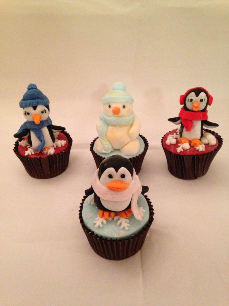 Christmas penguins and the snowman, Christmas figurine cupcakes