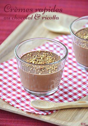 Petites crèmes rapides au chocolat & ricotta