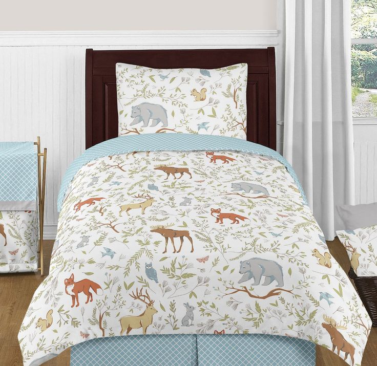 Blue, Grey and White Woodland Deer Fox Bear Animal Toile 4 Piece Boy or Girl Kids Childrens Twin Bedding Set
