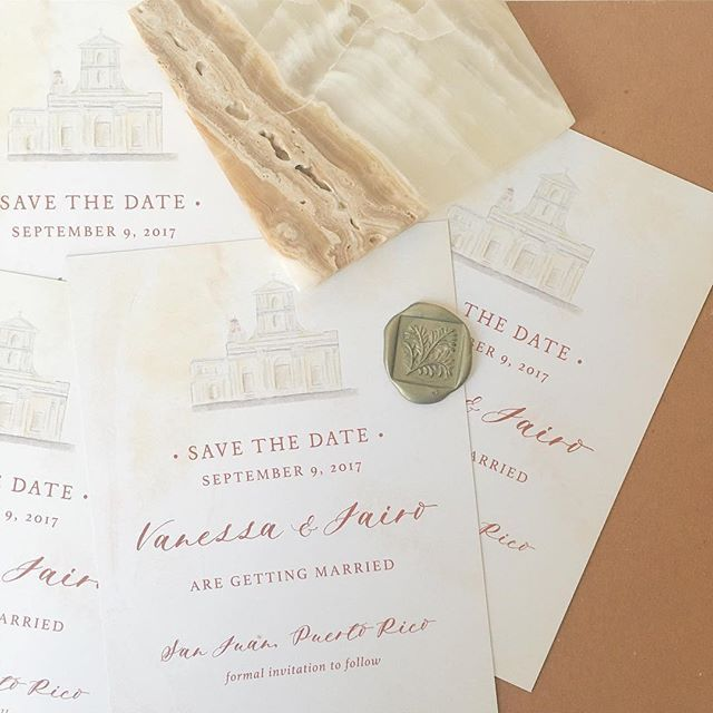 "Caitlin hand painted the chapel where they'd said ""I Do"" on these classic and slightly tuscan inspired Save the Dates! // Classic Affordable Wedding Invitations and Day of Paper for your Wedding Day from Third Clover Paper"