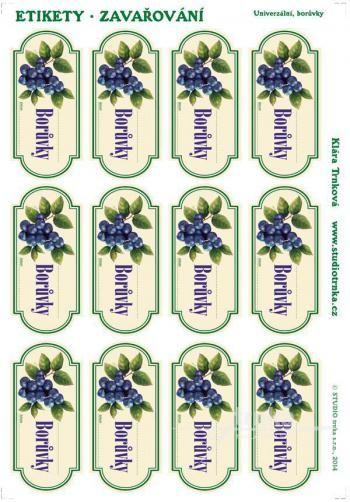 Samolepicí etikety, zavařování borůvky
