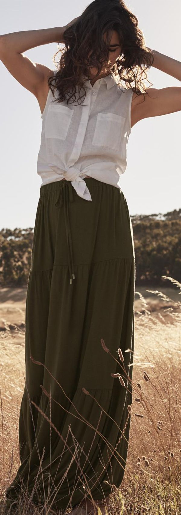 Tiered Jersey Maxi Skirt