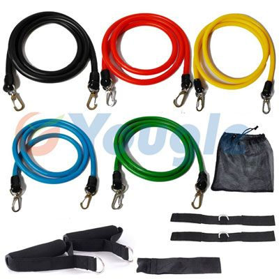 11-Piece Resistance Band Set For Yoga, Pilates, P90X, and More