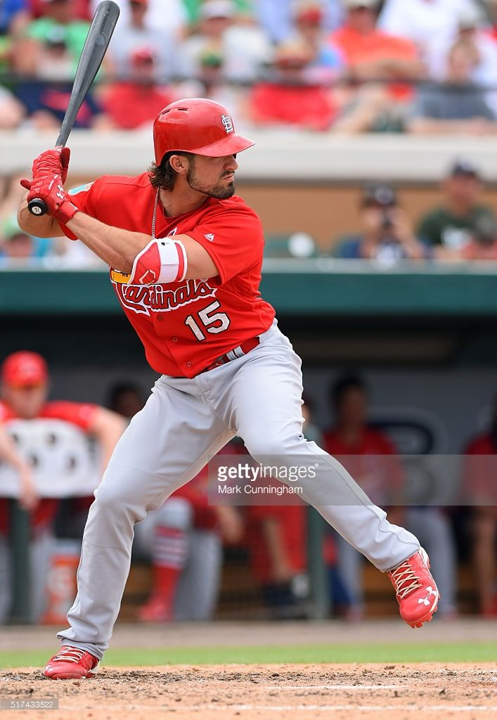 Randal Grichuk #15 of the St. Louis Cardinals bats during the Spring Training game against the Detroit Tigers at Joker Marchant Stadium on March 17, 2016 in Lakeland, Florida. The Tigers defeated the Cardinals 5-4.