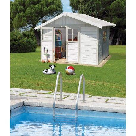 Abri de jardin en PVC 7,5m² DECO blanc et gris vert Grosfillex sur http://www.mon-abri-de-jardin.com/ #mon-abri-de-jardin #grosfillex #garden #shed #abri #chalet #cabane #resine