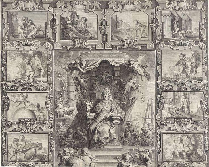 Jacob Neefs | Stedenmaagd van Antwerpen omgeven door allegorische voorstellingen (plaat 1), Jacob Neefs, 1640 | Bovenste deel van de voorstelling met de Stedenmaagd van Antwerpen omgeven door allegorische voorstellingen. De stedenmaagd van Antwerpen, gezeten op een troon, met de caduceus in haar ene hand en een beeld van de godin Victoria in de andere hand. Vier putti met de attributen van de vier kardinale deugden voorzichtigheid, rechtvaardigheid, matigheid en kracht houden de gordijnen…
