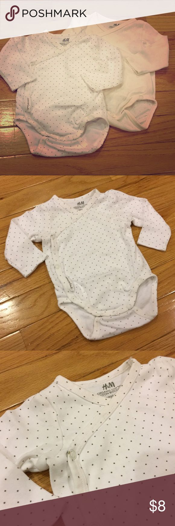 H&M Organic Cotton Side Snap Onesies Pair Good used condition, 2-4M, long sleeved, organic cotton side snap onesies. These fit so comfortably on both my son and daughter. We loved them and wore them often. H&M One Pieces Bodysuits