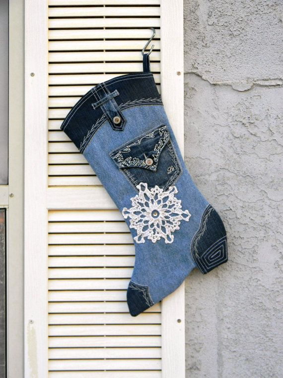 Cowgirl Christmas Stocking Upcycled Blue Denim by AllasOriginals