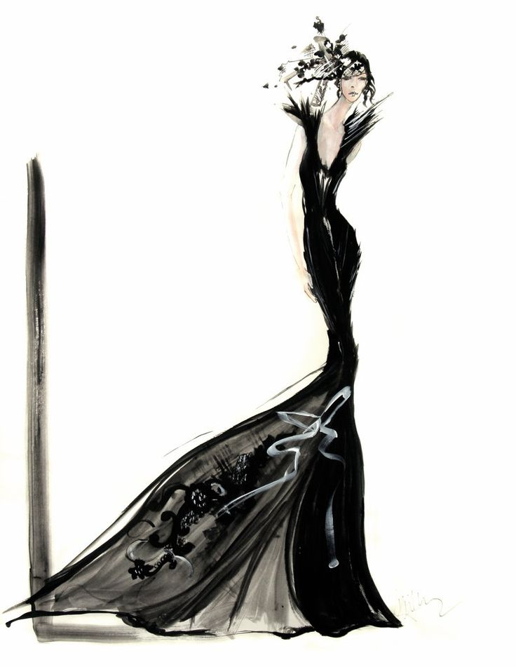 by David Downton fashion illustration art black evening gown