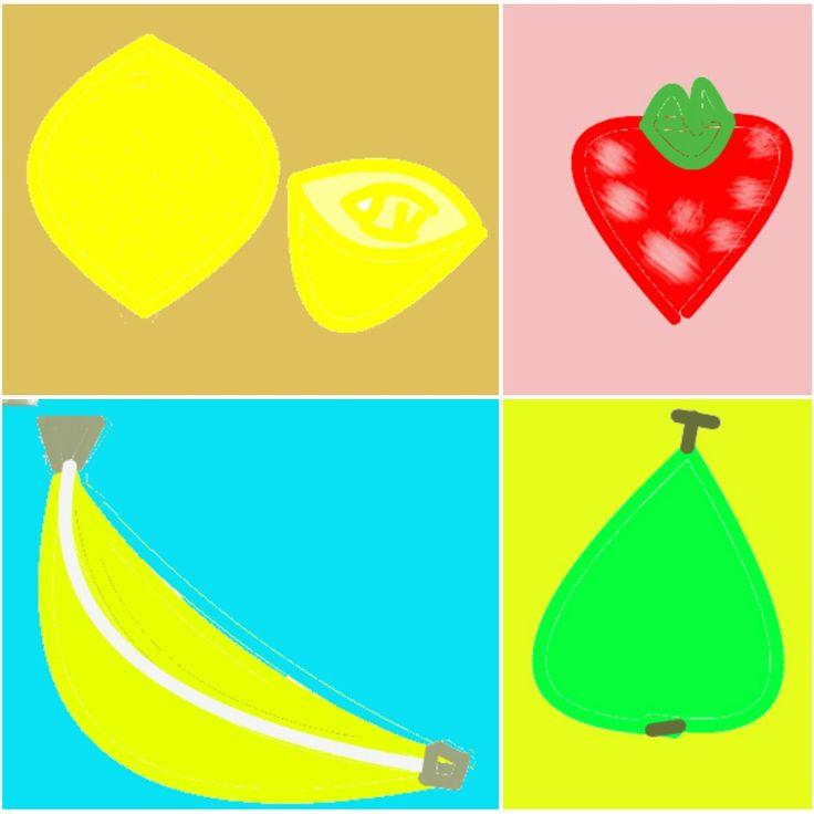 collage van tekeningen #fruit