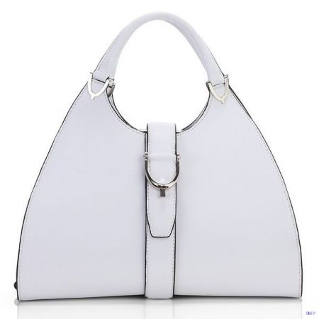 Gucci Stirrup Leather Top Handle Bag White