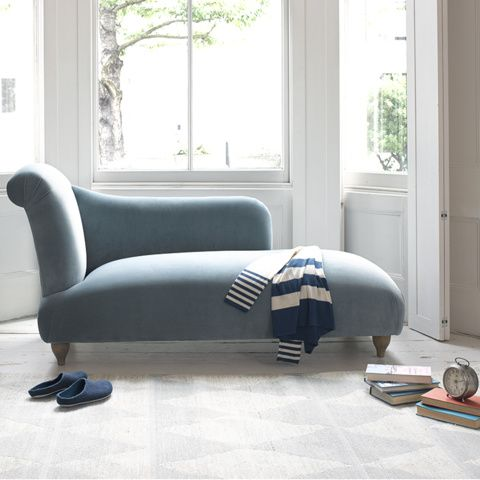 Brönte chaise longue in Lagoon clever velvet W 163cm x 75 deep x 80 tall. £895. 80 fabrics avail. Notting hill showroom