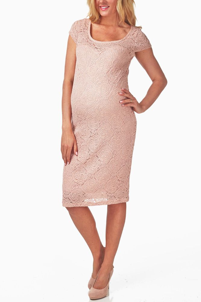 Dusty-Pink-Lace-Maternity-Dress