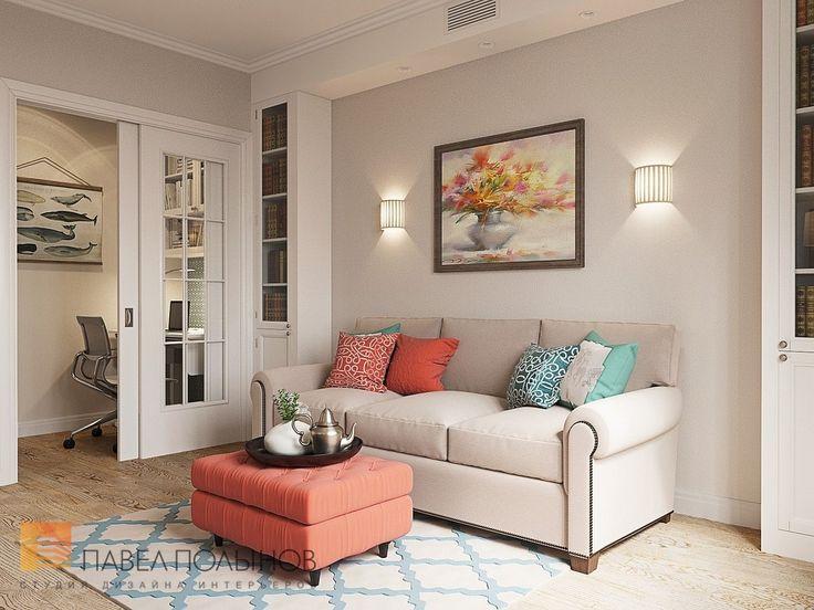 Фото: Дизайн интерьера гостиной - Интерьер квартиры в стиле легкой классики, ЖК «Академ-Парк», 68 кв.м.