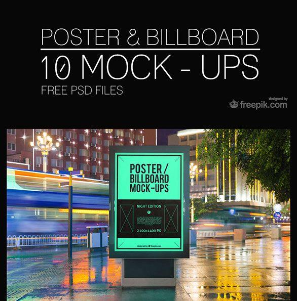 10 Free PSD Urban Billboard Poster Mockups