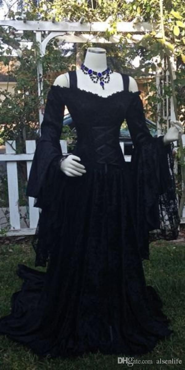 Discount Vintage Black Gothic Wedding Dresses A Line Medieval Off The Shoulder Straps Long Sleeves Corset Bridal Gowns With Court Train Custom Made Lace Wedding Black Wedding Dresses Black Wedding Dress