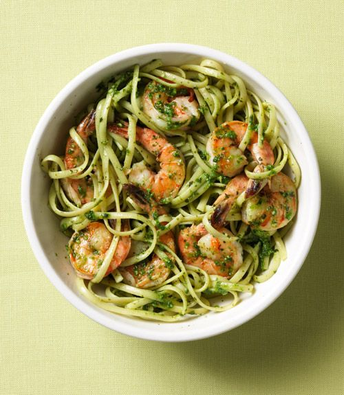 Linguine with Shrimp & Spinach Pesto