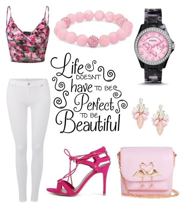"""""""Lifes beautiful"""" by simone-kelly-coad-lutwyche ❤ liked on Polyvore featuring Doublju, 7 For All Mankind, Boohoo, Palm Beach Jewelry, Sophia Webster, FOSSIL and Cara"""