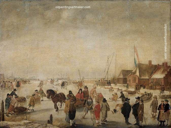 Barent Avercamp Enjoying the Ice., painting Authorized official website