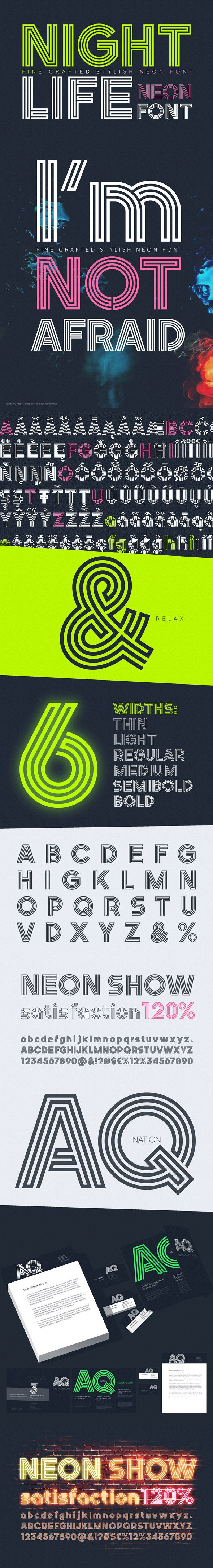 #Nightlife Decorative Neon Font - #Decorative #Fonts Download here: https://graphicriver.net/item/nightlife-decorative-neon-font/20263748?ref=alena994