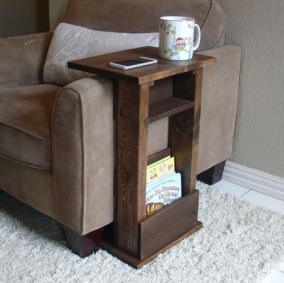 Sofa chair arm rest table stand ii with shelf and storage for Sofa side table