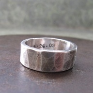 Rustic Wedding Band, print with finger prints of loved ones