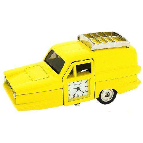 Miniature Yellow Robin Reliant Car Novelty Desktop Collectors Clock 9231