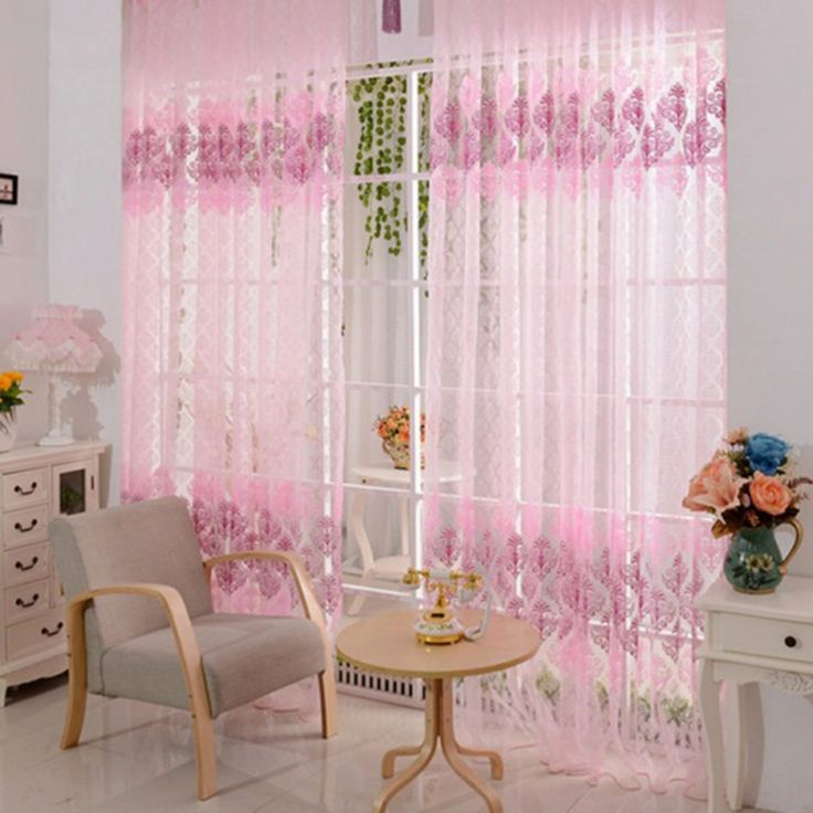 100x200cm pink vintage flower print room curtains girls women voile window curtains room sheer panel drape