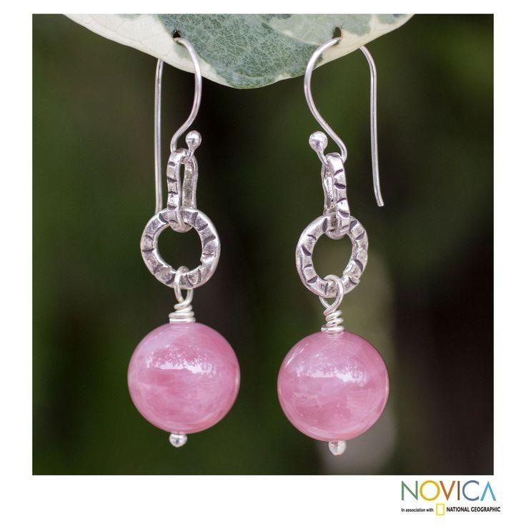 Sterling Silver 'Thai Rose' Rose Quartz Earrings (Thailand) | Overstock.com Shopping - The Best Deals on Earrings