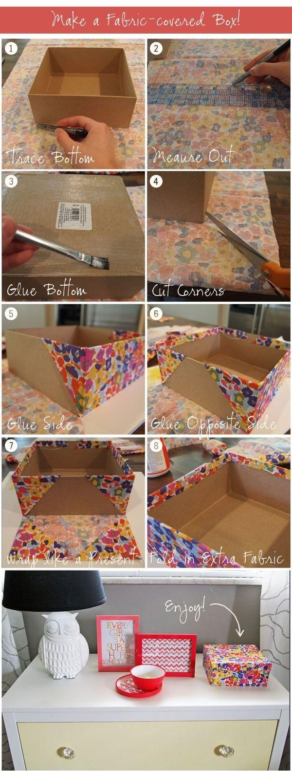 Quick tutorial on fabric covering a box.