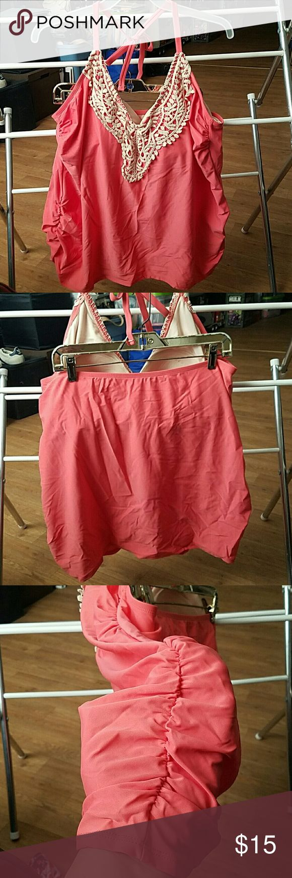 Ava & Viv swim top Tankini Ava & Viv swim top Tankini , new never used , peach with cream details NWOT Ava & Viv Swim
