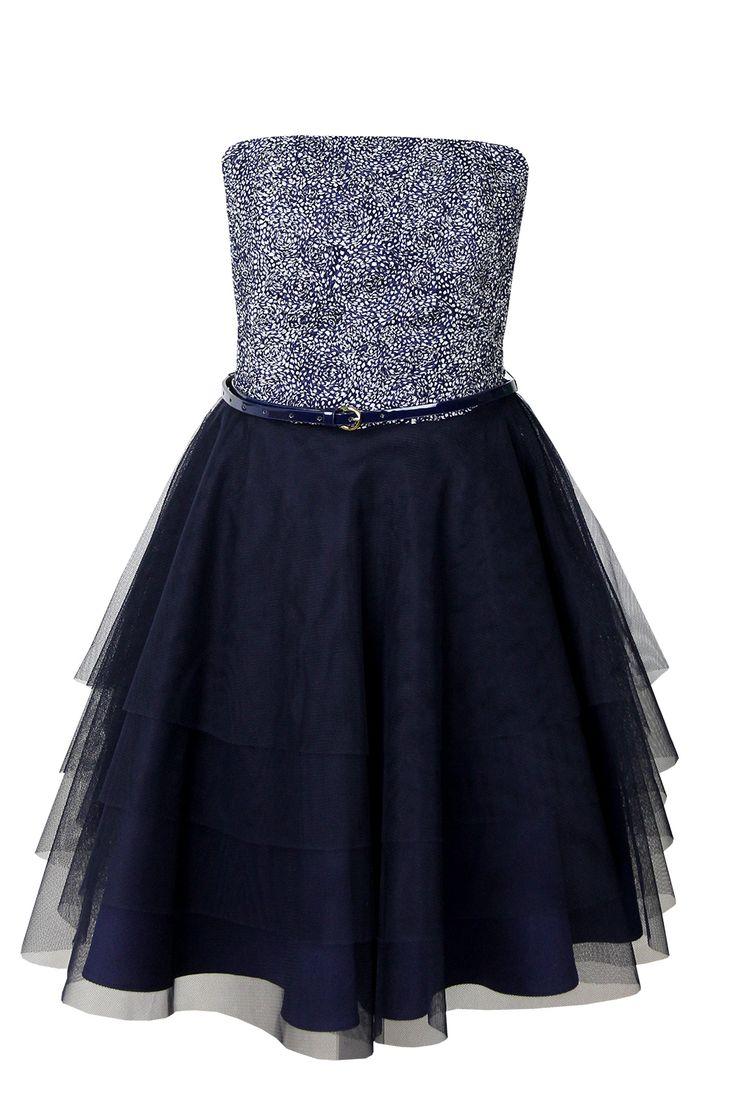 Sukienka Benita granatowo białe cętki Semper #fashion #semper #dress #navy #blue #darkblue #midnightblue #fashionbrand
