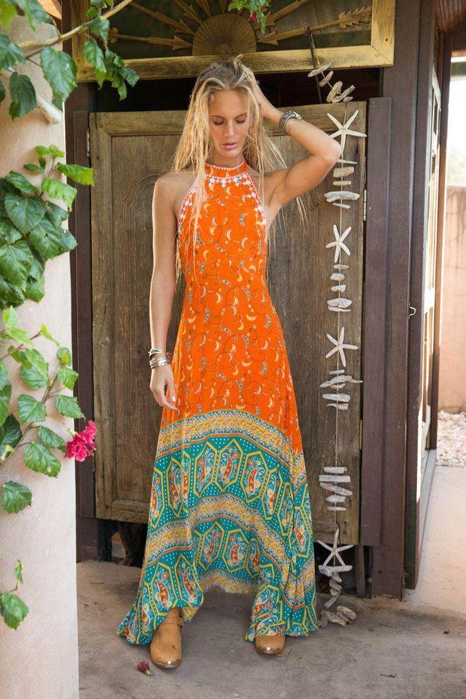 Boho Hippie Orange Maxi Dress Summer