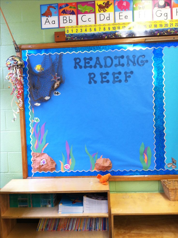 """""""Reading Reef""""- ocean themed bulletin board. Post weekly objectives or literacy anchor charts. Use a fishing net and shells to add decoration."""