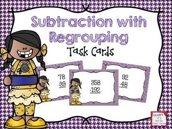 FREE! This mini set of subtraction task cards is perfect for a math center! I know that my students can't get enough practice with regrouping. This set includes subtraction with 2 and 3-digit numbers. Enjoy.