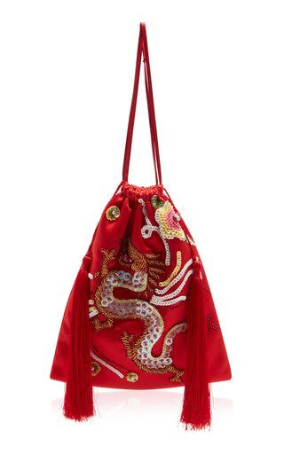 This **Attico** bag is rendered in viscose and features allover embroidery and a drawstring closure.