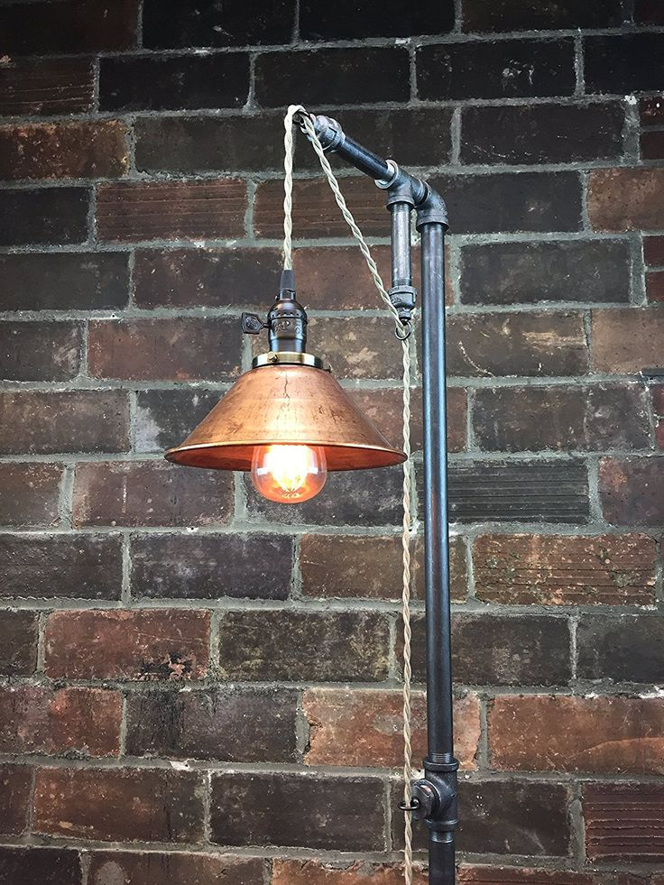 "Industrial Style Floor Lamp - Pendant Edison Bulb - Copper Shade - $225 @ Amazon - Handmade in the USA Assembled Using Heavy Duty Black Iron Fittings 8"" Rustic Copper Shade Includes Globe Squirrel Cage Edison Bulb Retro Style Cloth Covered Power Cord"
