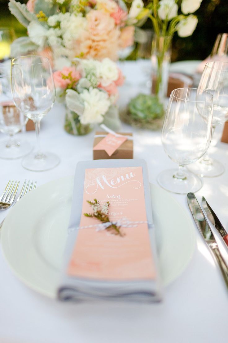 A lovely peach place setting and menu Photography by Molly, MEF Photography / mefphoto.com, Event and Graphic Design by KT Designs / facebook.com/ktdesigns.likeme, Floral Design by Adornments Flowers / adornmentsflowers.com/