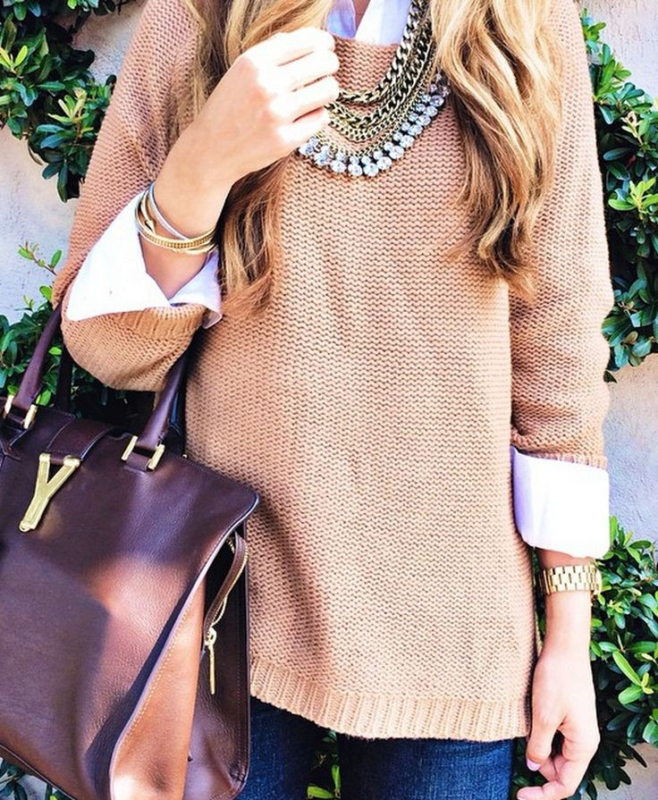 For the love of YSL!   such a pretty layered look! http://www.theteacherdiva.com/2014/10/layered-knits.html