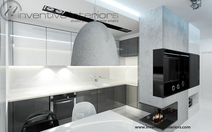 Projekt kuchni Inventive Interiors - męska biało szara kuchnia z betonem