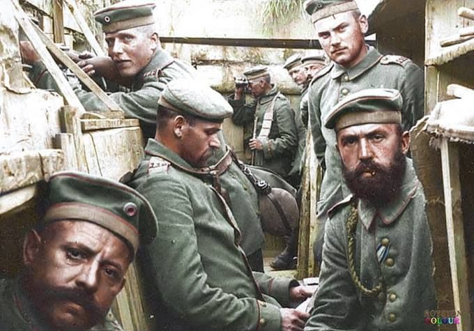 German soldiers in a trench.